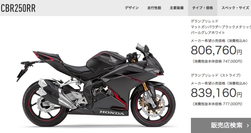 CBR250RRはABSモデルで806,760円(税込)