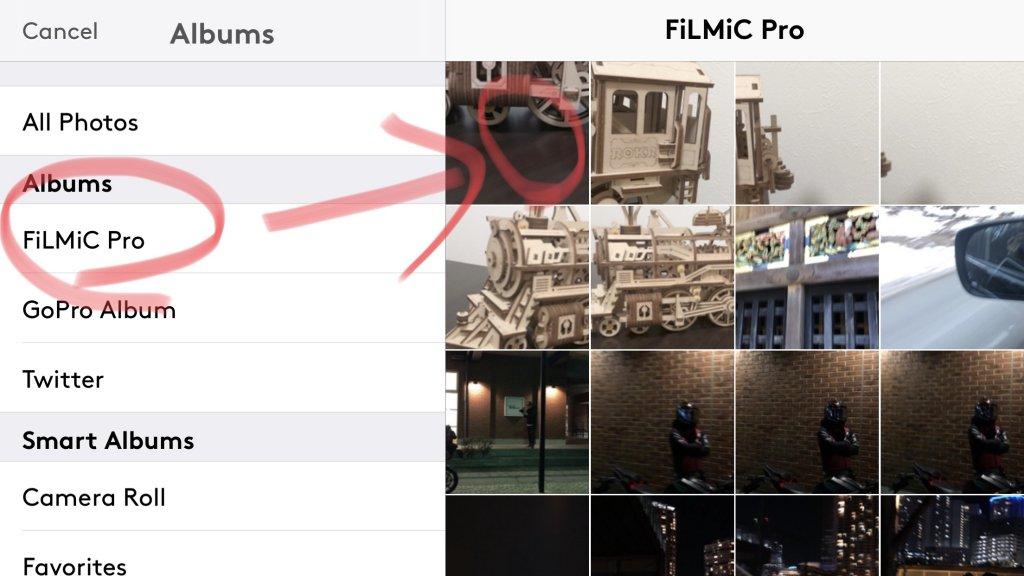 """左ペインの""""FiLMiC Pro""""を選び、任意の動画を選ぶ"""