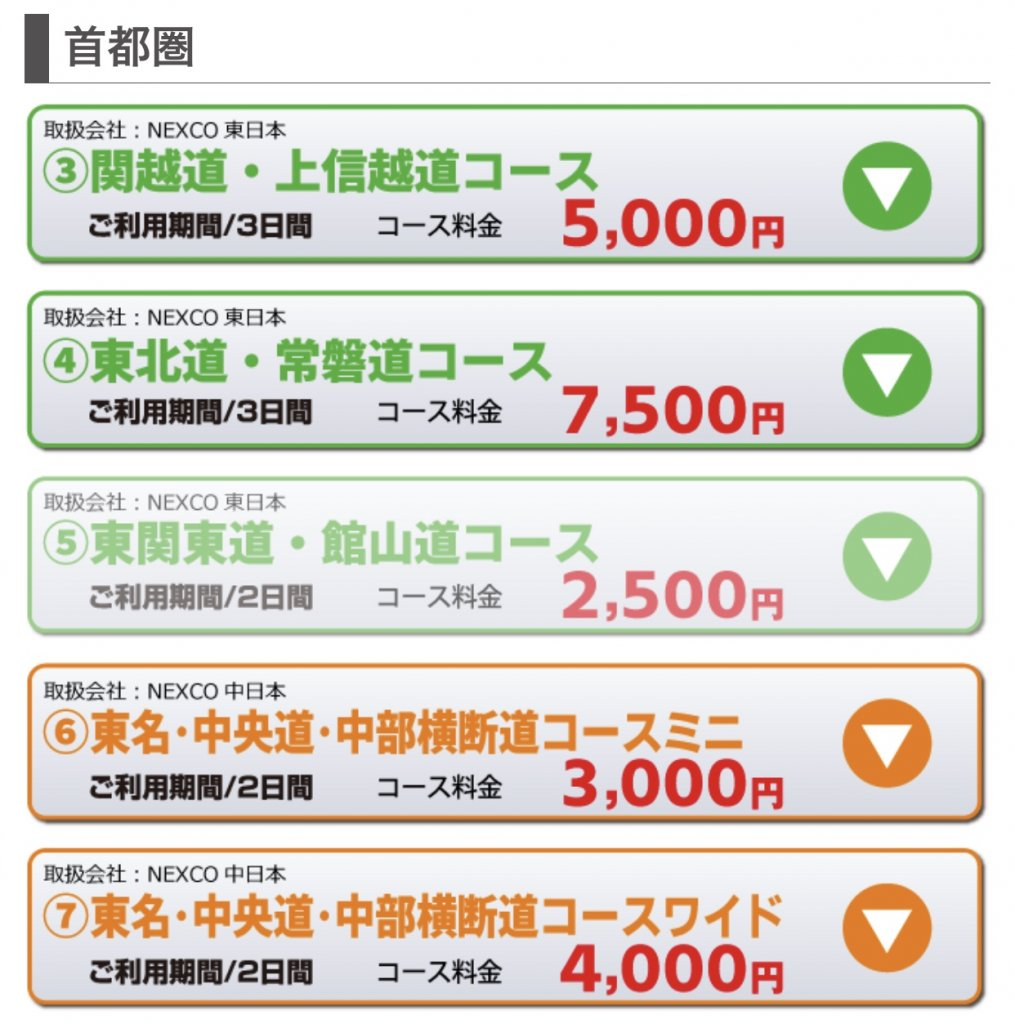 一覧から「首都圏 東名・中央道・中部横断道コース【ワイド】」のページを開く。