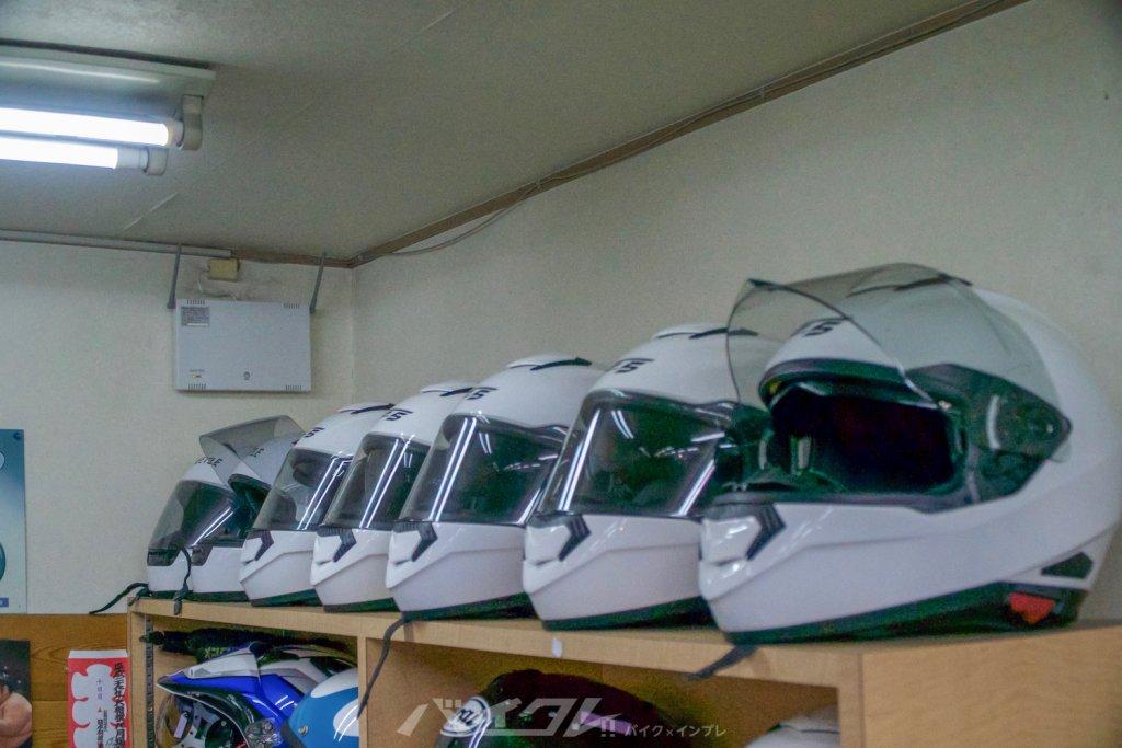 バイクレンタル用のヘルメットも綺麗
