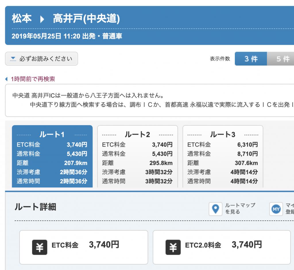 長野県松本ICから東京の高井戸ICまでは3740円